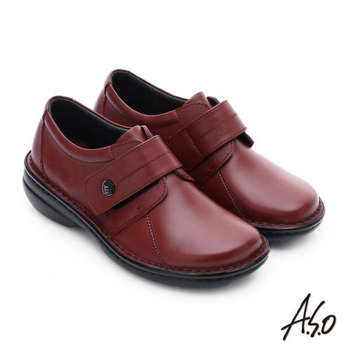A.S.O 手縫氣墊-3E寬楦 魔鬼氈圓飾扣氣墊鞋(紅)