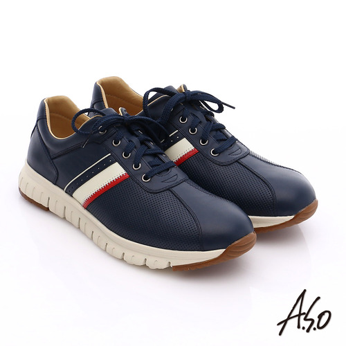 A.S.O 輕量抗震 真皮條紋配色活力休閒鞋(藍)