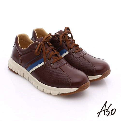A.S.O 輕量抗震 真皮條紋配色活力休閒鞋(咖啡)