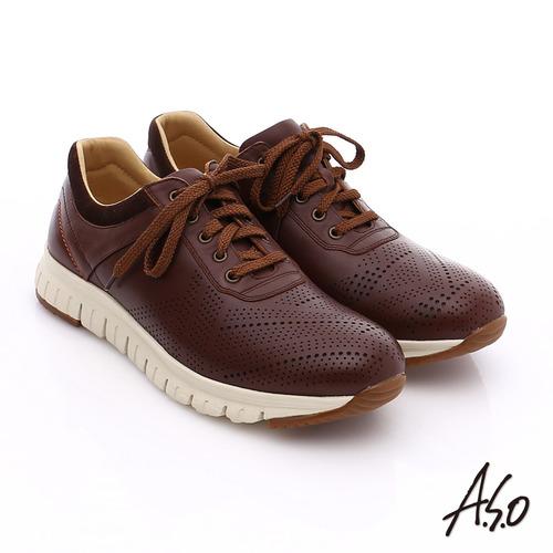 A.S.O 輕量抗震 真皮透氣輕量休閒鞋(咖啡)