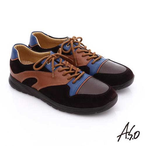 A.S.O 輕量抗震 真皮拼接活力休閒鞋(咖啡)