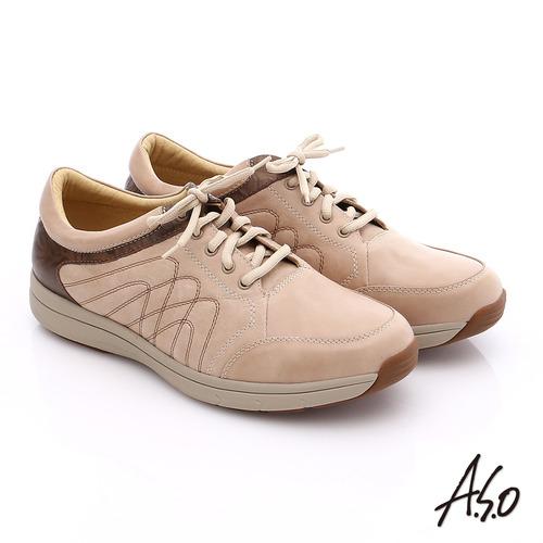 A.S.O 挺力氣墊 蠟感壓花真皮輕量綁帶休閒鞋(卡其)