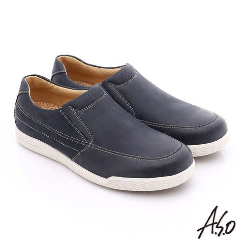 A.S.O 輕量抗震 蠟感真皮直套式素面休閒鞋(藍)