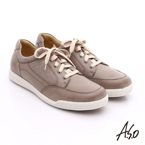 A.S.O 輕量抗震 蠟感真皮綁帶素面休閒鞋(灰)