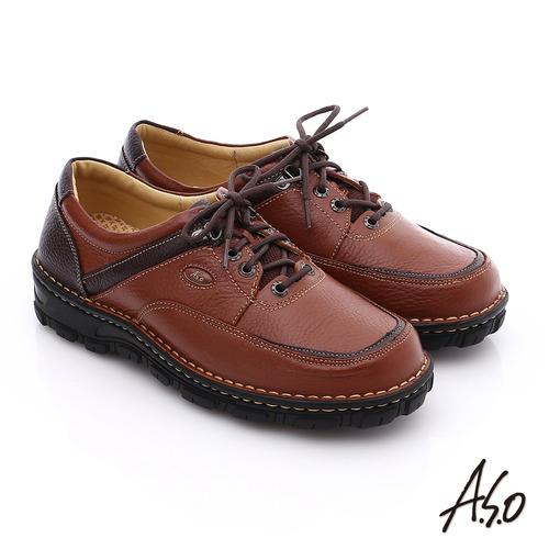 A.S.O 抗震雙核心 真皮拼接網布綁帶奈米休閒鞋(茶)