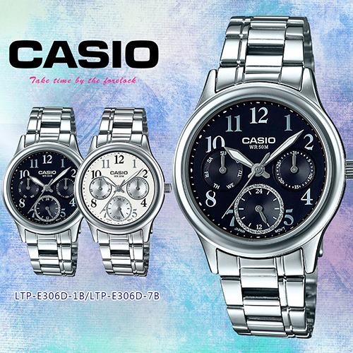 【CASIO卡西歐】流光歲月三針三眼石英腕錶 LTP-E306D-1B/7B