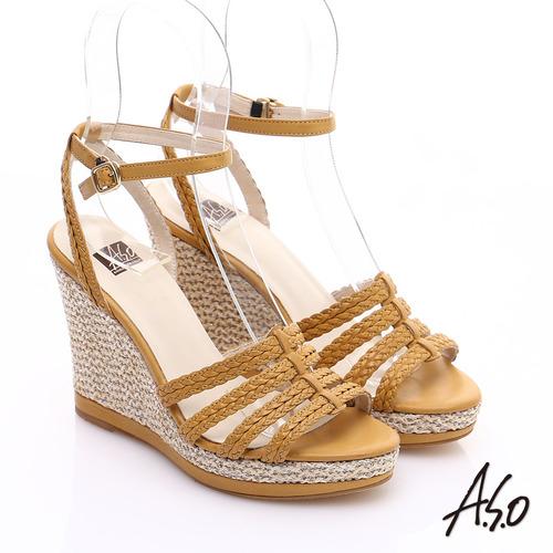 A.S.O 完美涼夏 真皮手工編織楔型涼鞋(黃)
