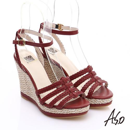 A.S.O 完美涼夏 真皮手工編織楔型涼鞋(紅)