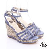 A.S.O 完美涼夏 真皮手工編織楔型涼鞋(紫)