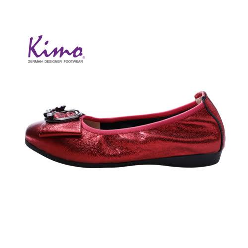 【Kimo 德國手工氣墊鞋】氣質優雅裝飾金屬感柔軟牛皮舒適娃娃鞋(暗酒紅D0417WF018017)