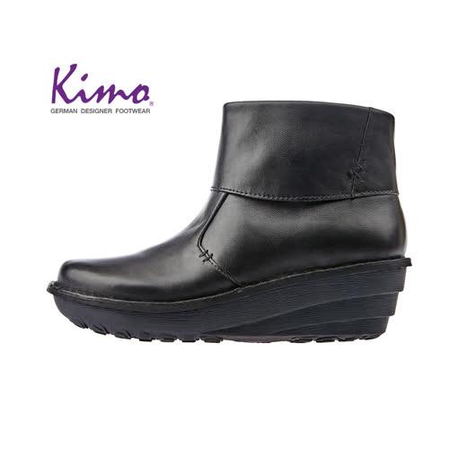 【Kimo 德國手工氣墊鞋】簡約設計率性寬楦舒適中筒靴平底休閒鞋(暗夜黑K17WF011663)