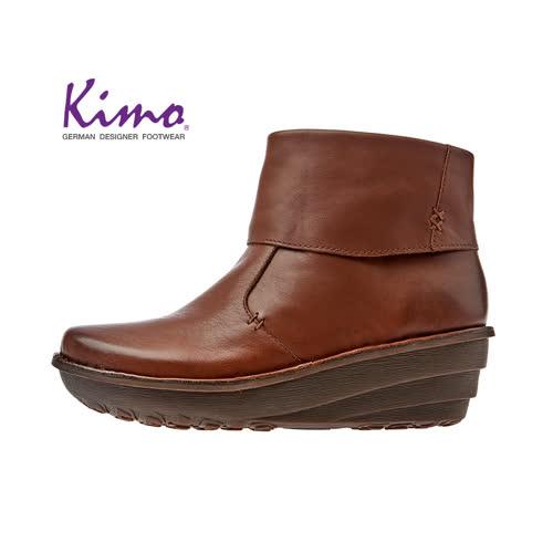 【Kimo 德國手工氣墊鞋】簡約設計率性寬楦舒適中筒靴平底休閒鞋(風格棕K17WF011665)