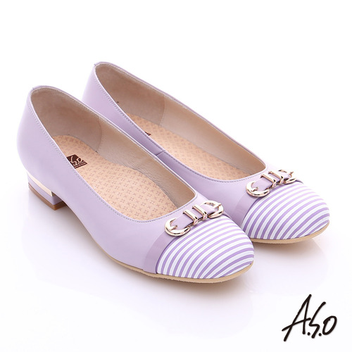 A.S.O 3E舒活寬楦 全真皮奈米條紋皮飾帶低跟鞋(淺紫)