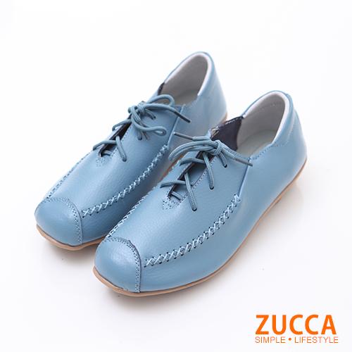 ZUCCA【z6236be】車縫線綁帶皮革包鞋-藍色