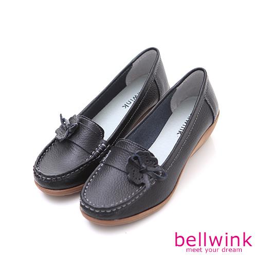bellwink【b9707bk】復古車線側朵結平底鞋-黑色