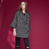 ICHE衣哲 翻領雙排釦微寬羊毛長版西裝造型大衣外套-黑
