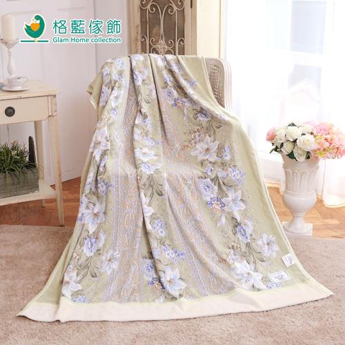 【格藍傢飾】日本泉大津發熱毛巾被-彩蝶戀花-花翠綠