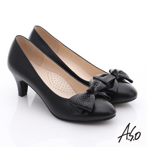A.S.O 氣質名媛 全真皮雙蝴蝶結甜美高跟鞋(黑)