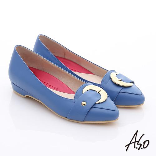 A.S.O 職場女力 柔軟真皮皮帶飾扣低跟鞋(藍)
