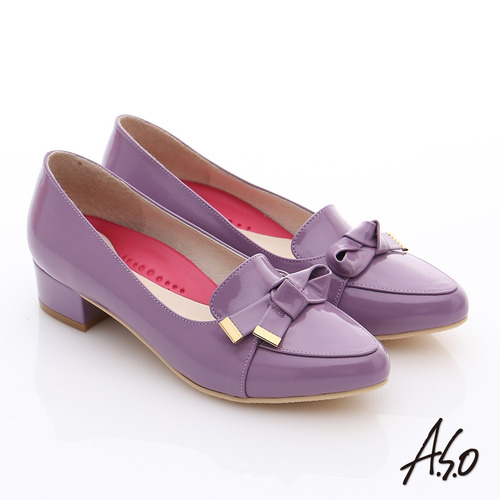 A.S.O 職場女力 鏡面牛皮立體飾扣低跟鞋(紫)