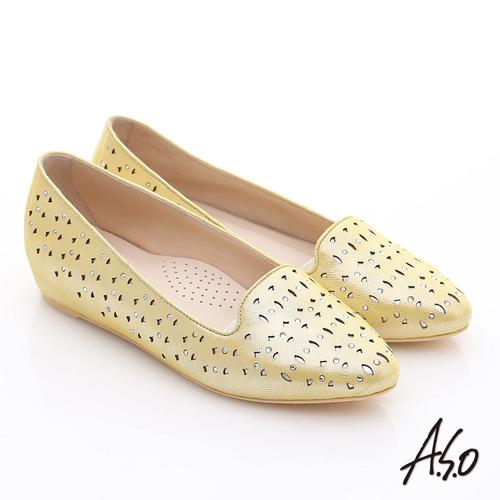 A.S.O 玩美涼夏 金屬感羊皮內增高平底鞋(黃)