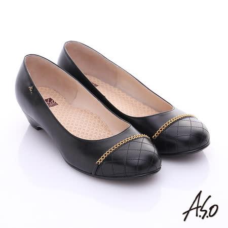 A.S.O 全真皮奈米窩心低跟鞋