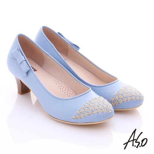 A.S.O舒適通勤 真皮金蔥編織側結飾中跟鞋(淺藍)