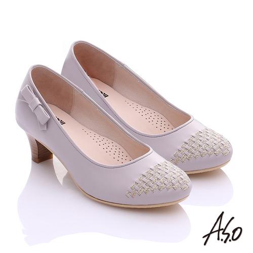 A.S.O舒適通勤 真皮金蔥編織側結飾中跟鞋(灰)