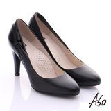 A.S.O 復古女伶 鏡面真皮側翻摺高跟鞋 (黑)