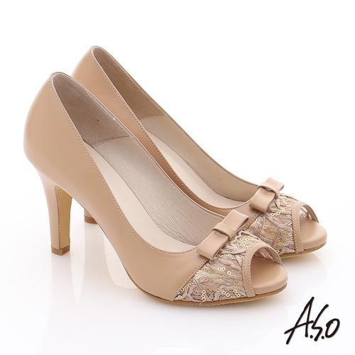 A.S.O 法式浪漫 真皮蕾絲蝴蝶綴飾高跟魚口鞋(卡其)