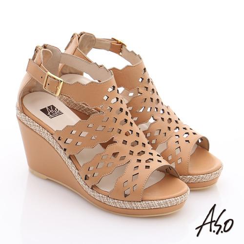 A.S.O 完美涼夏 全真皮波希米亞風彈力楔型涼鞋(卡其)