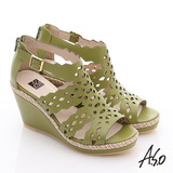 A.S.O 完美涼夏 全真皮波希米亞風彈力楔型涼鞋(綠)