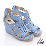 A.S.O 完美涼夏 全真皮波希米亞風彈力楔型涼鞋(淺藍)