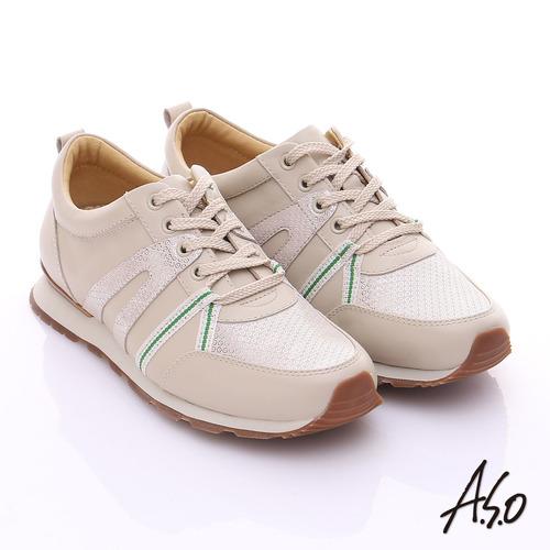 A.S.O 輕量抗震 牛皮拼接絨面金箔奈米綁帶休閒鞋(米)