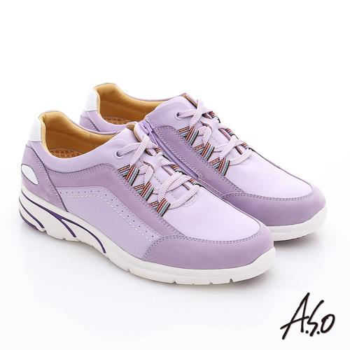A.S.O 紓壓耐走 全真皮綁帶拉鍊奈米氣墊鞋(淺紫)