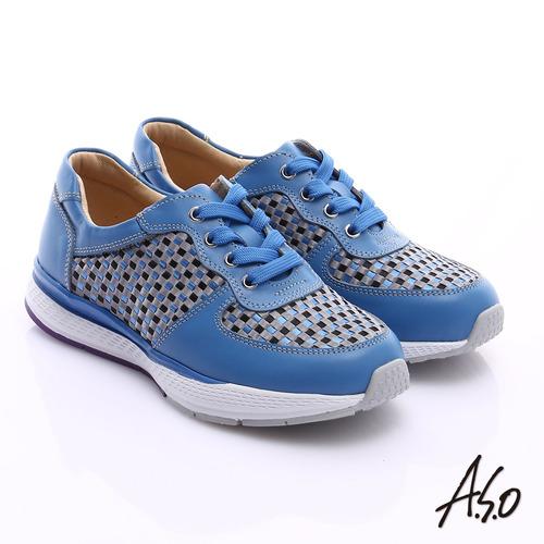 A.S.O 時尚風潮 真皮編織布料奈米綁帶休閒鞋(藍)