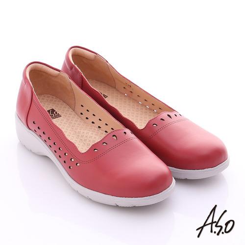 A.S.O 3E健康鞋 真皮水滴雕花寬楦奈米休閒鞋(紅)