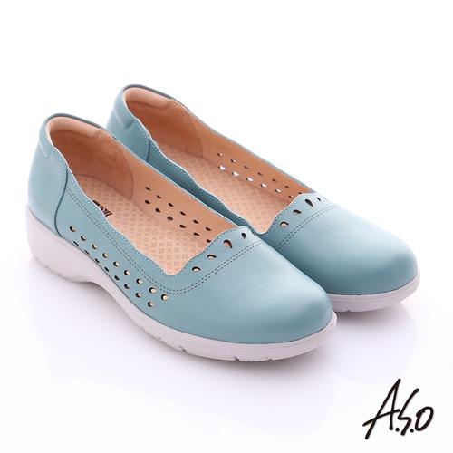 A.S.O 3E健康鞋 真皮水滴雕花寬楦奈米休閒鞋(藍)