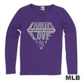MLB-紐約洋基隊閃耀鑽石圓領薄T恤-紫(女)