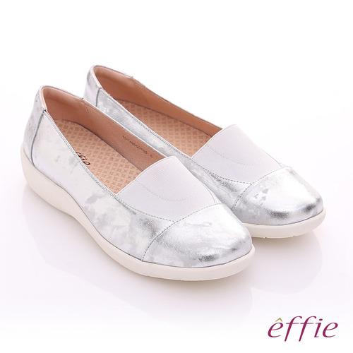 effie 挺麗氣墊 金箔羊皮寬版鬆緊帶奈米休閒鞋(銀)