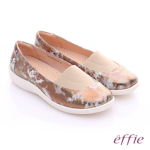effie 挺麗氣墊 金箔羊皮寬版鬆緊帶奈米休閒鞋(古銅)