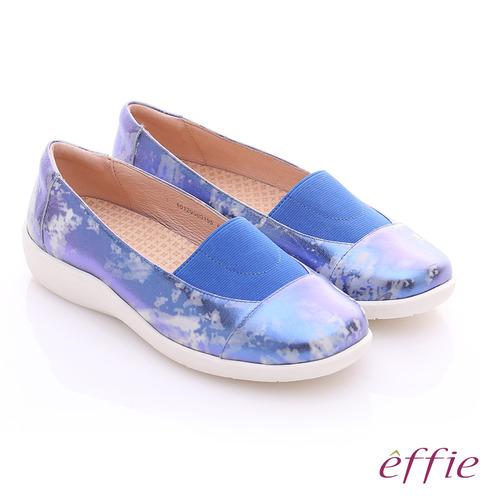 effie 挺麗氣墊 金箔羊皮寬版鬆緊帶奈米休閒鞋(藍)