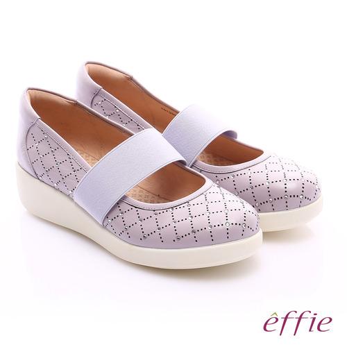 effie 挺麗氣墊 羊皮水鑽寬版鬆緊帶奈米休閒鞋(淺紫)
