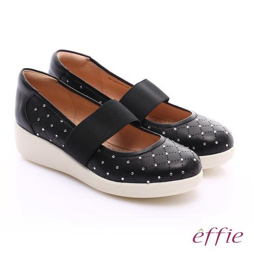 effie 挺麗氣墊 羊皮水鑽寬版鬆緊帶奈米休閒鞋(黑)
