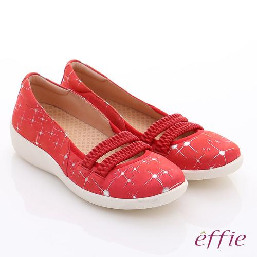 effie 挺麗氣墊 真皮絨面鬆緊帶奈米氣墊鞋(紅)