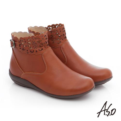 A.S.O 舒適樂活 全真皮釦飾鏤空拉鍊短靴(茶)