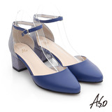A.S.O 璀璨注目 全真皮金蔥尖頭高跟鞋(紫藍)