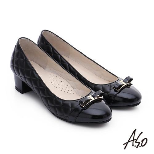 A.S.O 優雅美型 真皮小香風菱格紋粗跟鞋(黑)
