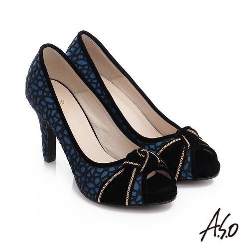 A.S.O 璀璨注目 蕾絲緞布絨面魚口高跟鞋(藍)
