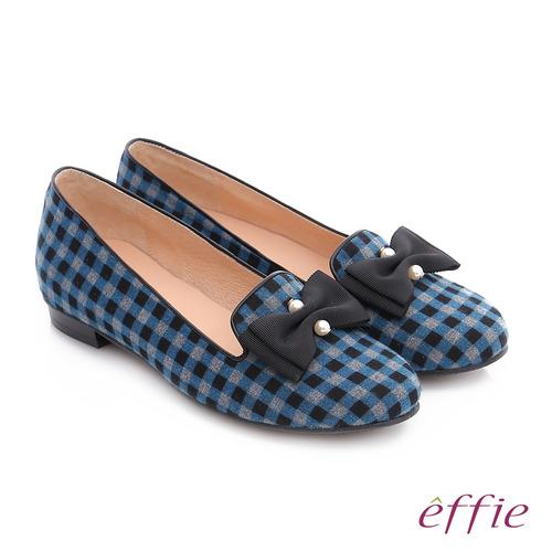 effie 都會舒適 全真皮豔彩格紋拼接珍珠蝴蝶低跟鞋 (藍)